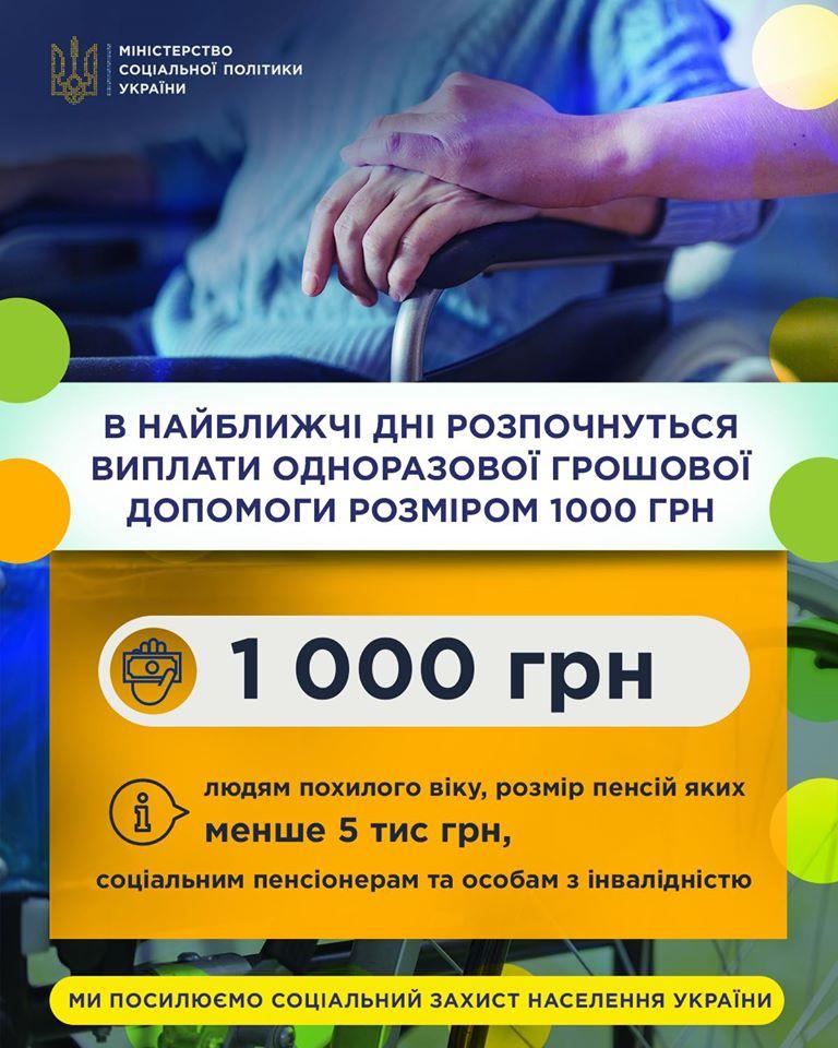 Від 19 квітня почнуть виплачувати пенсіонерам обіцяну 1000 грн допомоги