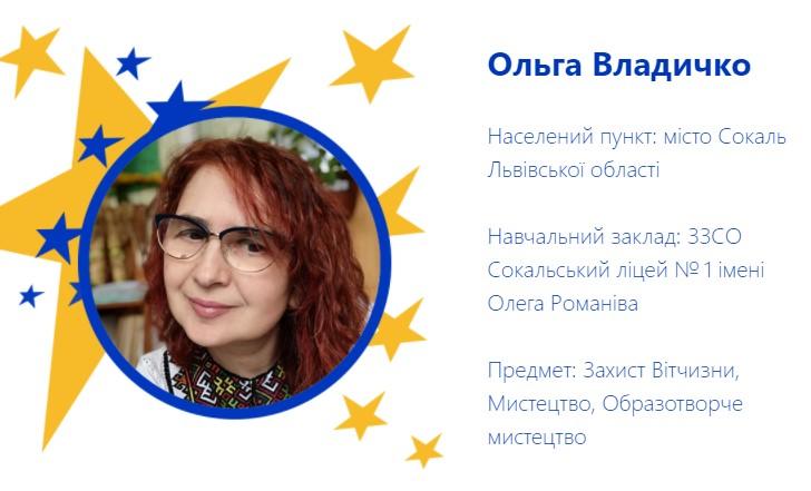 Педагог з Сокальської гімназії Ольга Владичко потрапила до топ-50 найкращих учителів України