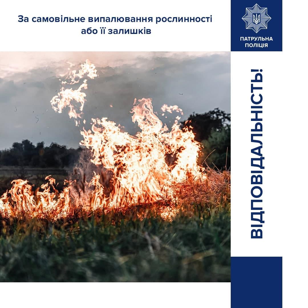 За спалювання листя, сухостою та сміття – штрафи від 3 до 21 тис грн