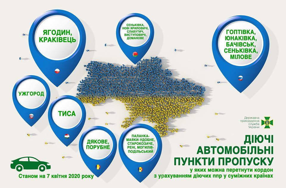З 7 квітня державний кордон України можна буде перетнути лише автотранспортом і лише у 19 пунктах пропуску