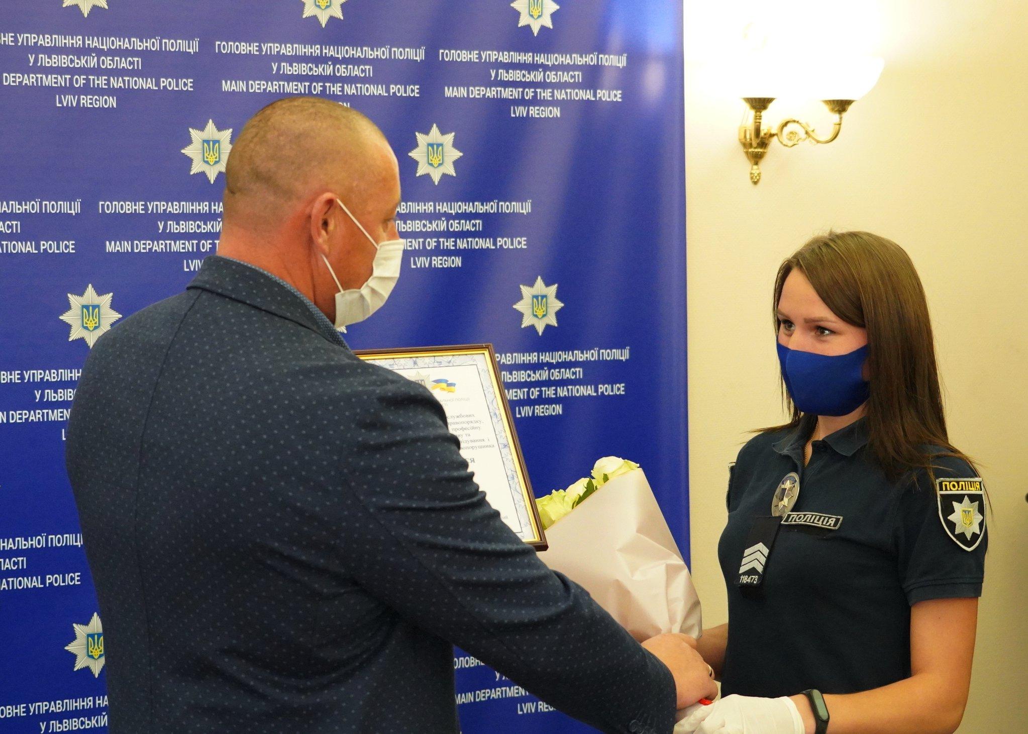 Двох поліцейських з Сокальщини нагородили відзнаками за переслідування та затримання зловмисника